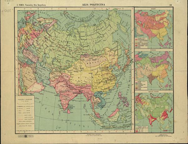 """Eugeniusz Romer, """"Powszechny atlas geograficzny"""", pomoc szkolna z okresu międzywojennego. Mapa wykorzystana jako ilustracja wiersza."""