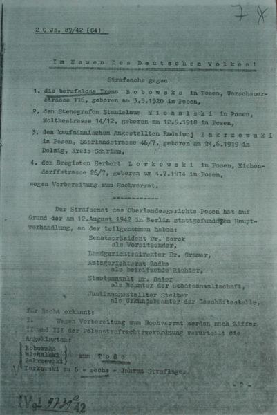 Wyrok na Bobowską i trzech członków jej grupy. Ze zbiorów IPN.