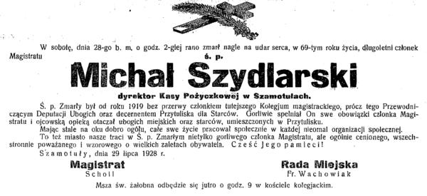 Nekrolog Michała Szydlarskiego, fot. z archiwum Muzeum Zamek Górków w Szamotułach