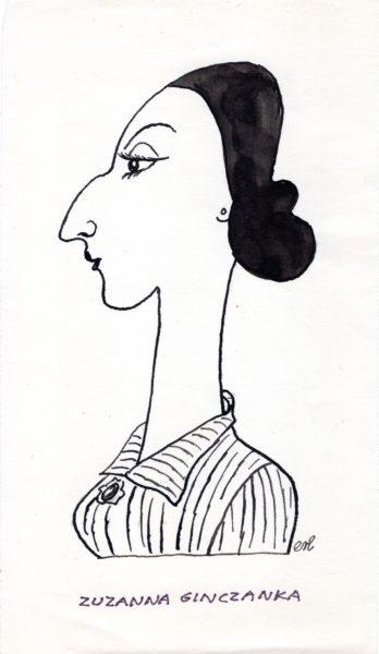 Karykatura Ginczanki autorstwa Eryka Lipińskiego
