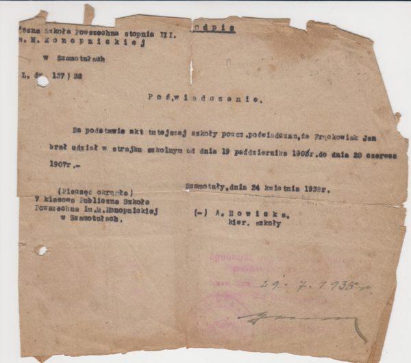 Dokument poświadczający udział w strajku szkolnym, fot. Muzeum Zamek Górków w Szamotułach