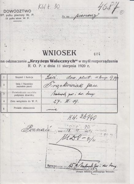 Wniosek o odznaczenie krzyżem walecznych, w którym mowa o zdobyciu pociągu, fot. Muzeum Zamek Górków w Szamotułach