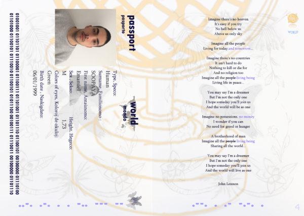"""Emanuel Soopaya, """"World Passport"""", projekt paszportu, 2020; III rok studiów I stopnia, Erasmus, Pracownia Sztuki w Perspektywie Międzykulturowej, Katedra Interdyscyplinarna, Wydział Edukacji Artystycznej i Kuratorstwa"""