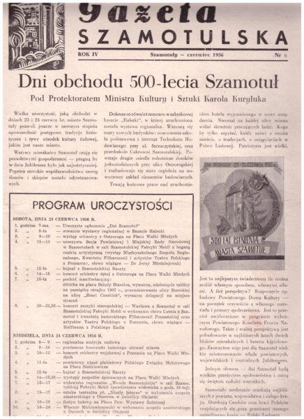 Gazeta Szamotulska, czerwiec 1956, program uroczystości, fot. Muzeum Zamek Górków w Szamotułach