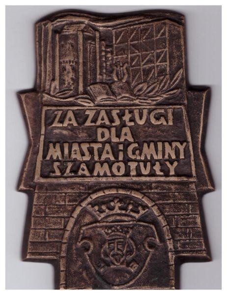Odznaka honorowa - Za zasługi dla Miasta i Gminy Szamotuły, wg projektu projektu Witolda Siwińskiego, fot. Muzeum Zamek Górków w Szamotułach