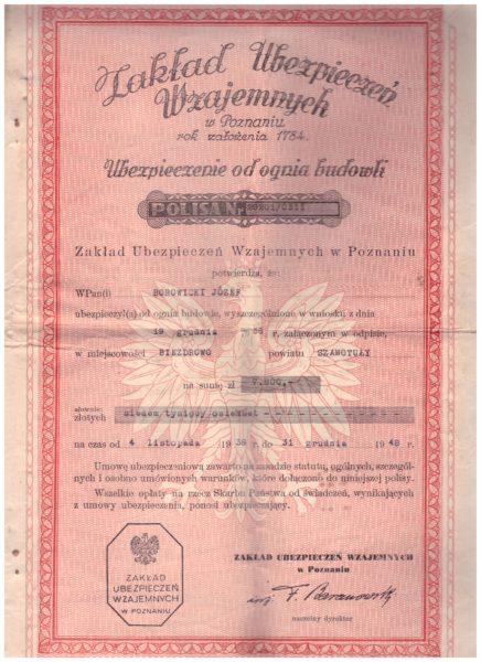 Polisa ubezpieczeniowa podpisywana przez osadnika na wypadek pożaru,  fot. z archiwum rodziny Borowickich z Biezdrowa
