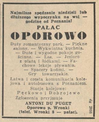 Oporowo ogłoszenie Antoni Puget w Kurierze Poznańskim z 7 czerwca 1936 roku