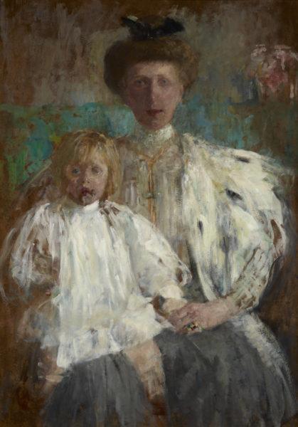 Obraz Olgi Boznańskiej - Portret Julii z Kwileckich Pugetowej z synem Jackiem - namalowany ok 1907 - Muzeum Narodowe w Krakowie