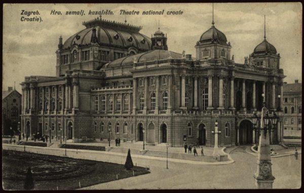Teatr Narodowy w Zagrzebiu, pocztówka z około 1900 roku, Gradski muzej Zagreb