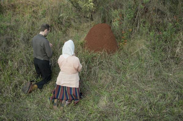 Obraz oparty na wspomnieniu Jana Raczkowskiego z Apostoles, Misiones, Argentyna. Kiedy przybyli pierwsi migranci, nie wiedzieli jak walczyć z mrówkami, szczególnie dużymi i silnymi w tym regionie. Zdesperowani, (mrówki zjadały plantacje), zaczęli się modlić, żeby je zatrzymać. Mrowiska, nazwane z języka guarani tacuru, mogą osiągnąć dwa metry wysokości, fot. K. Wąsowska