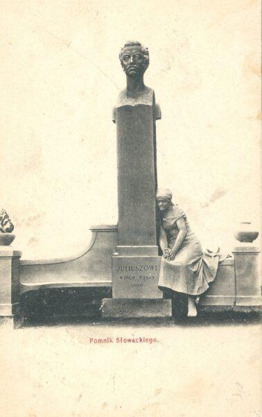 Pomnik przedstawiający popiersie Juliusza Słowackiego w Miłosławiu, fot. Polona