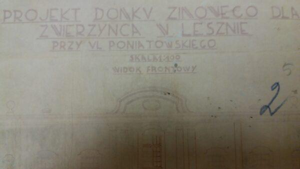 Fragment projektu domku zimowego dla Zwierzyńca w Lesznie, 1934, Archiwum Państwowe w Lesznie, reprodukcja M. Gołembka