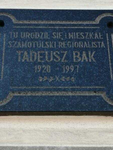 Tablica umieszczona na domu Baków z inicjatywy Klubu Rowerowego, fot. Muzeum Zamek Górków w Szamotułach