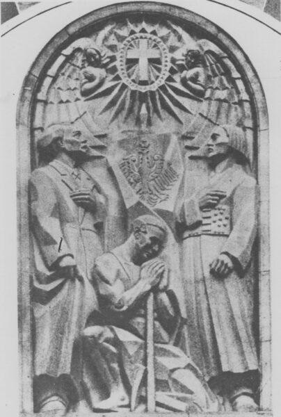 Płaskorzeźba pomnika Wdzięczności (ku czci Najświętszego Serca Jezusowego), fot. Narodowe Archiwum Cyfrowe