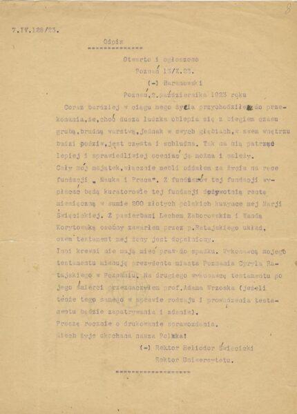 Odpis testamentu Heliorora Święcickiego, fot. Cyryl