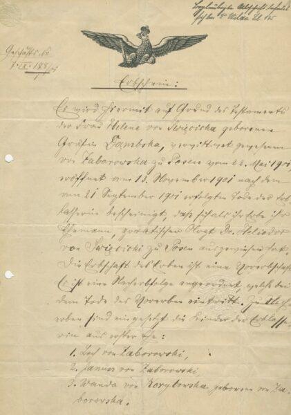 Testament żony Heliodora Święcickiego Heleny z Dąmbskich, wdowy po Gustawie Zaborowskim, fot. Cyryl