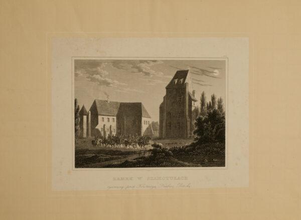 Zamek i baszta, XIX w., grafika Konstancji Potockiej, ze zbiorów szamotulskiego muzeum