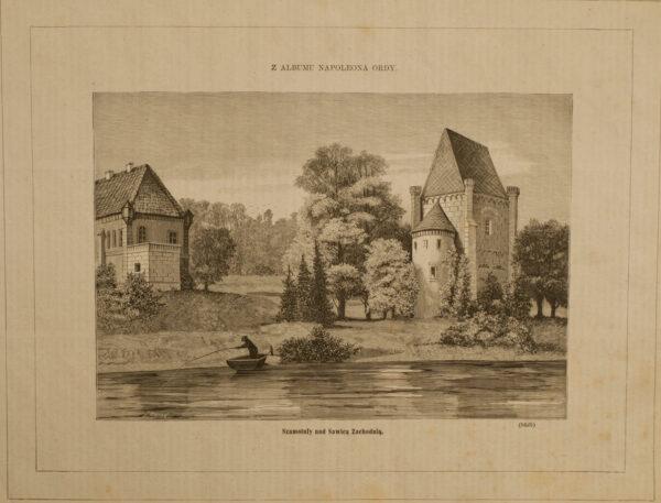 Zamek i baszta, XIX w., grafika ze zbiorów szamotulskiego muzeum