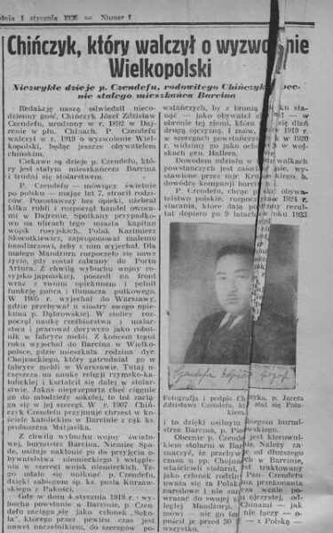 Artykuł na temat Zdzisława Józefa Czendefu w Kurierze Poznańskim, fot. z archiwum autora