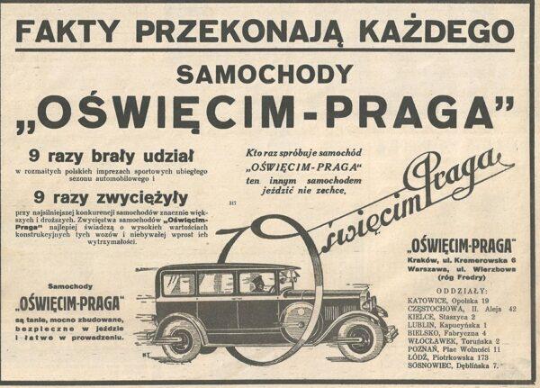reklama samochodu Oświęcim-Praga, lata 30 XX w., fot. ze zbiorów NAC
