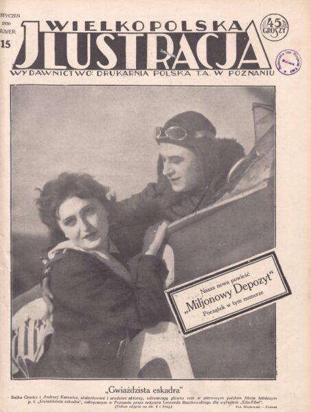 """Strona tytułowa """"Wielkopolskiej Jlustracji"""" z 1930 r. z kadrem z filmu """"Gwiaździsta eskadra"""", fot. Wikipedia"""
