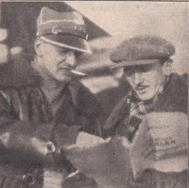 """Janusz Meissner i Leonard Buczkowski na planie """"Gwiaździstej eskadry"""", fot. Wikipedia"""