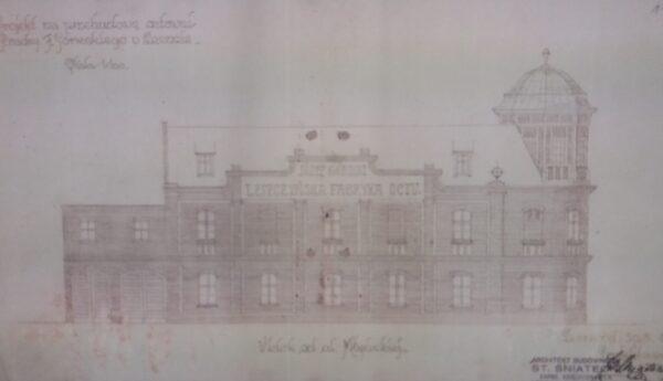 Napis Leszczyńskiej Fabryki Octu na projekcie, Archiwum Państwowe w Lesznie, reprodukcja M. Gołembka