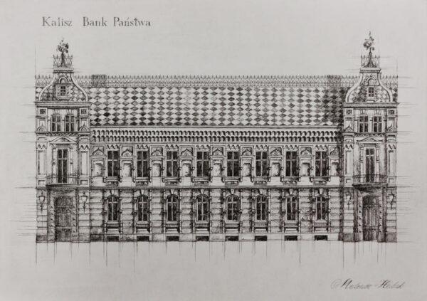 Neobizantyjska architektura Banku Państwa w Kaliszu, rekonstrukcja Mateusz Halak