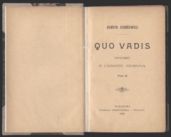 Pierwsze wydanie Quo vadis, fot. Polona