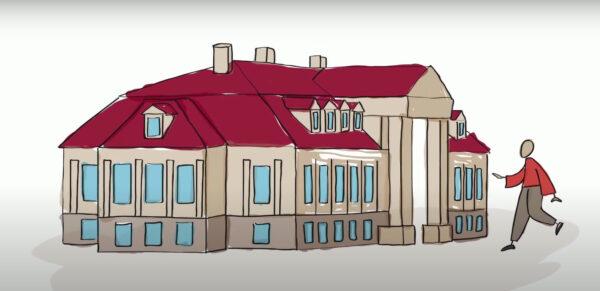 Projekt dmuchanej makiety pałacu winnogórskiego, fot. kadr z prezentacji