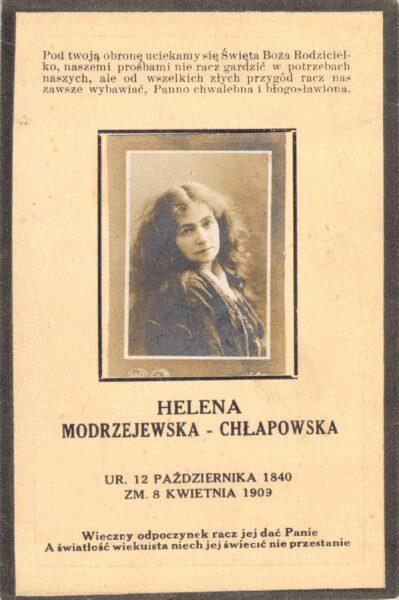 Obrazek pośmiertny Heleny Modrzejewskiej, fot. Rodzina Chłapowskich