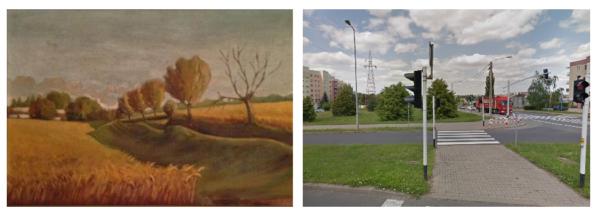 Porównanie krajobrazu tego samego miejsca na Dobrzecu sprzed budowy blokowisk z fotografią wykonaną współcześnie, fot. zbiory prywatne