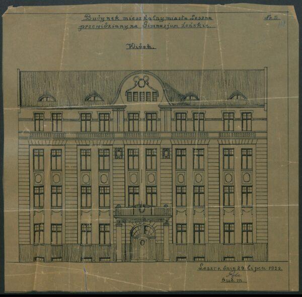 Budynek przy Jagiellońskiej 3 na projekcie z 1922 r. ze zbiorów Archiwum Państwowego w Lesznie, repr. M. Gołembka