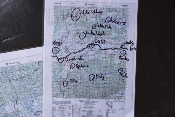 Mapa gminy Krzyż z 1939r., z fotografowanymi miejscowościami, fot. K. Figas
