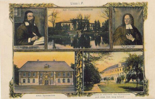 Leszczyńskie Gimnazjum na pocztówce, fot. Fb Leszno w starym obiektywie