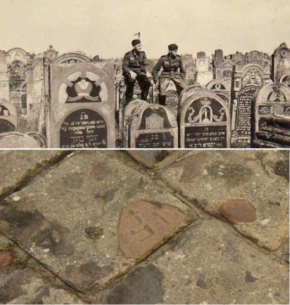 Zdjęcie Starego Cmentarza z 1939 roku. Poniżej fragmenty macew z cmentarza w kaliskim bruku, fot. ze zbiorów Hili Marcinkowskiej